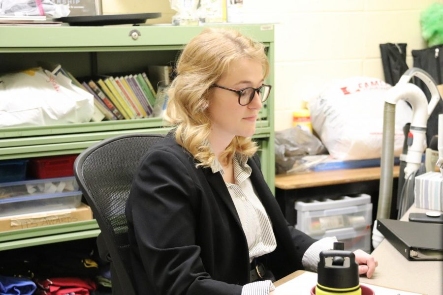 Cassandra Ludwig (12), or the Casting Director, performs for this years fall play