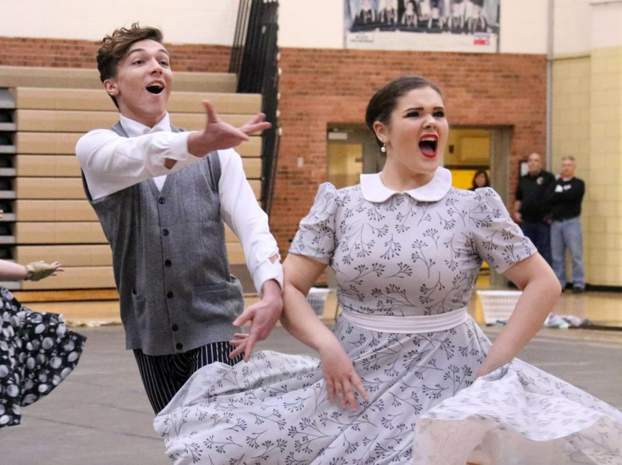 Seniors Ben Lanier and Helen Tolcou perform in last year's show