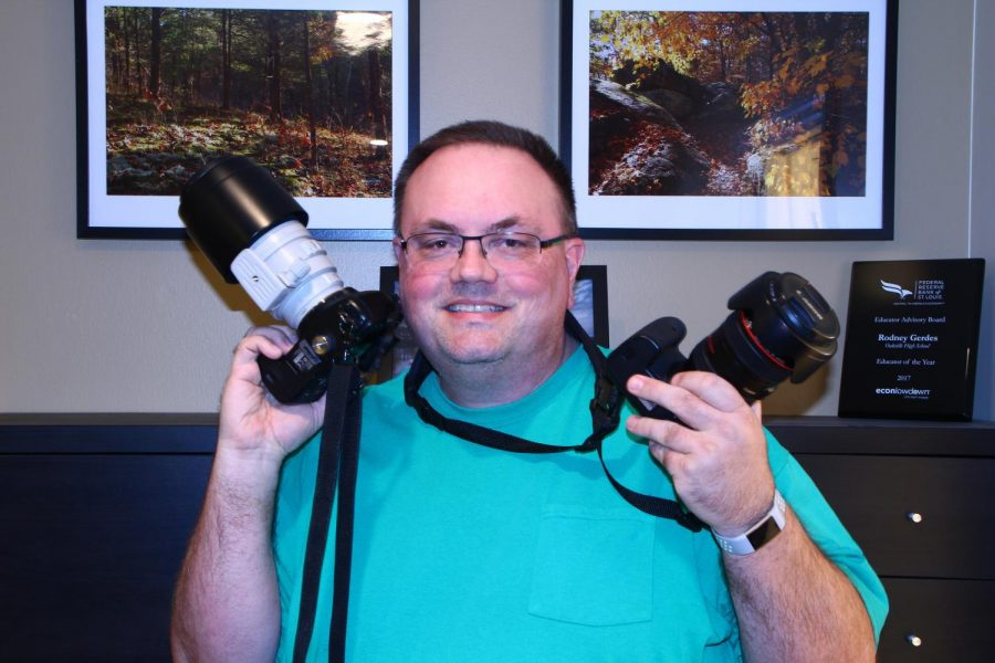 Mr. Gerdes shows off the cameras he uses to capture the beauty in the world around him.