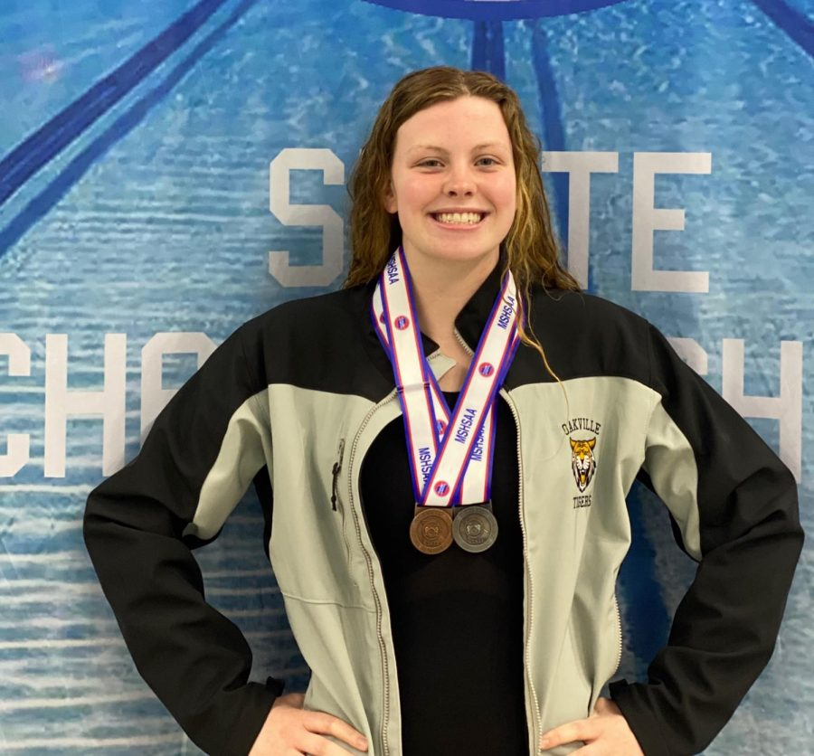 Senior Meg heveroh earns two medals at the state swim meet.