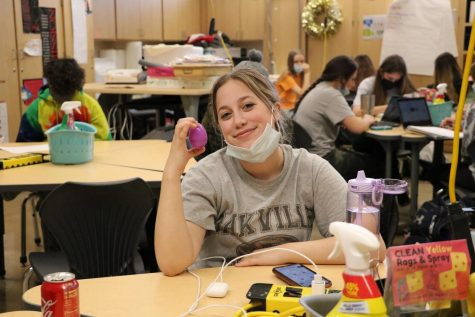Lilly Mathews (10) in Mrs. Daughaday's ANP shows off her egg she received from NHS.