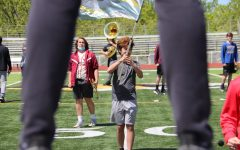 During the school day, the band is able to get outside to practice for their showcase on May 22.